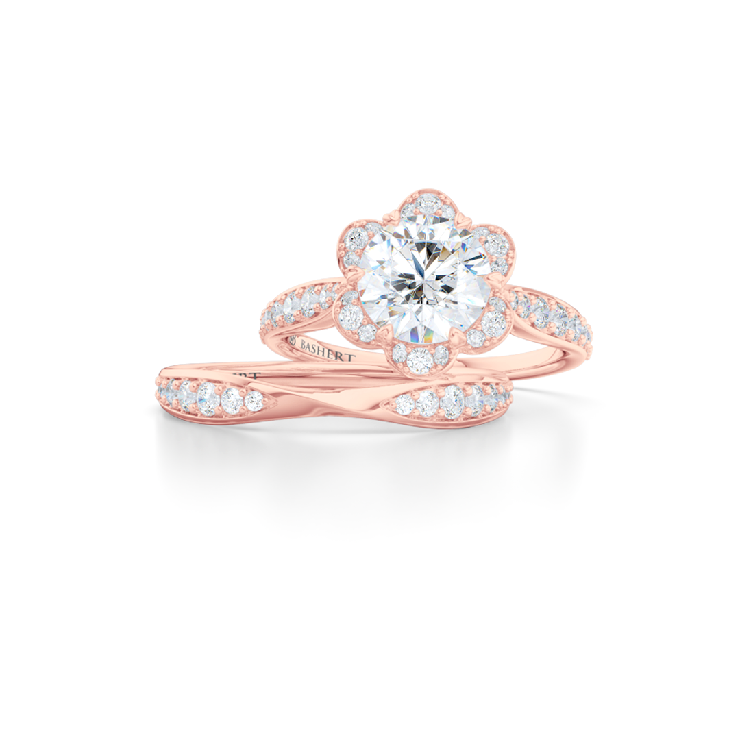 Flower inspired Round Moissanite Halo Engagement Ring. Hand-fabricated in Solid, Sustainable, Rose Gold and Charles & Colvard Round Brilliant Moissanite.  Free Shipping USA. 15 Day Returns | BASHERT JEWELRY | Boca Raton, Florida