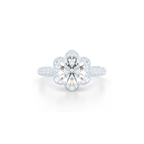 Flower inspired Round Moissanite Halo Engagement Ring. Handcrafted in Solid, Sustainable,  White Gold or Precious Platinum and Charles & Colvard Round Brilliant Moissanite.  Free Shipping USA. 15 Day Returns | BASHERT JEWELRY | Boca Raton, Florida