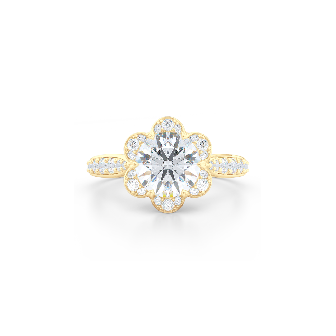 Flower inspired Round Moissanite Halo Engagement Ring. Hand-fabricated in Solid, Sustainable,  Yellow Gold and Charles & Colvard Round Brilliant Moissanite.  Free Shipping USA. 15 Day Returns | BASHERT JEWELRY | Boca Raton, Florida