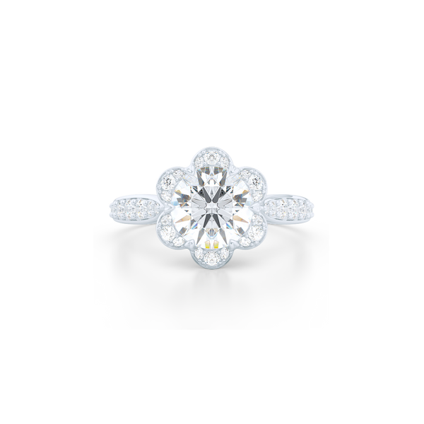 Flower inspired, six-prong, Round Halo Engagement Ring. Hand-fabricated in solid, sustainable Precious Platinum 950 and GIA Certified Round Brilliant Diamond.  Free Shipping USA. 15 Day Returns | BASHERT JEWELRY | Boca Raton, Florida