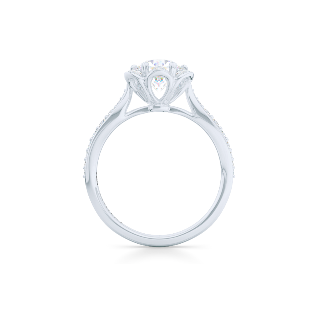 Flower inspired, six-prong, Round Halo Engagement Ring. Hand-fabricated in solid, sustainable, 18K White Gold and GIA Certified Round Brilliant Diamond.  Free Shipping USA. 15 Day Returns | BASHERT JEWELRY | Boca Raton, Florida