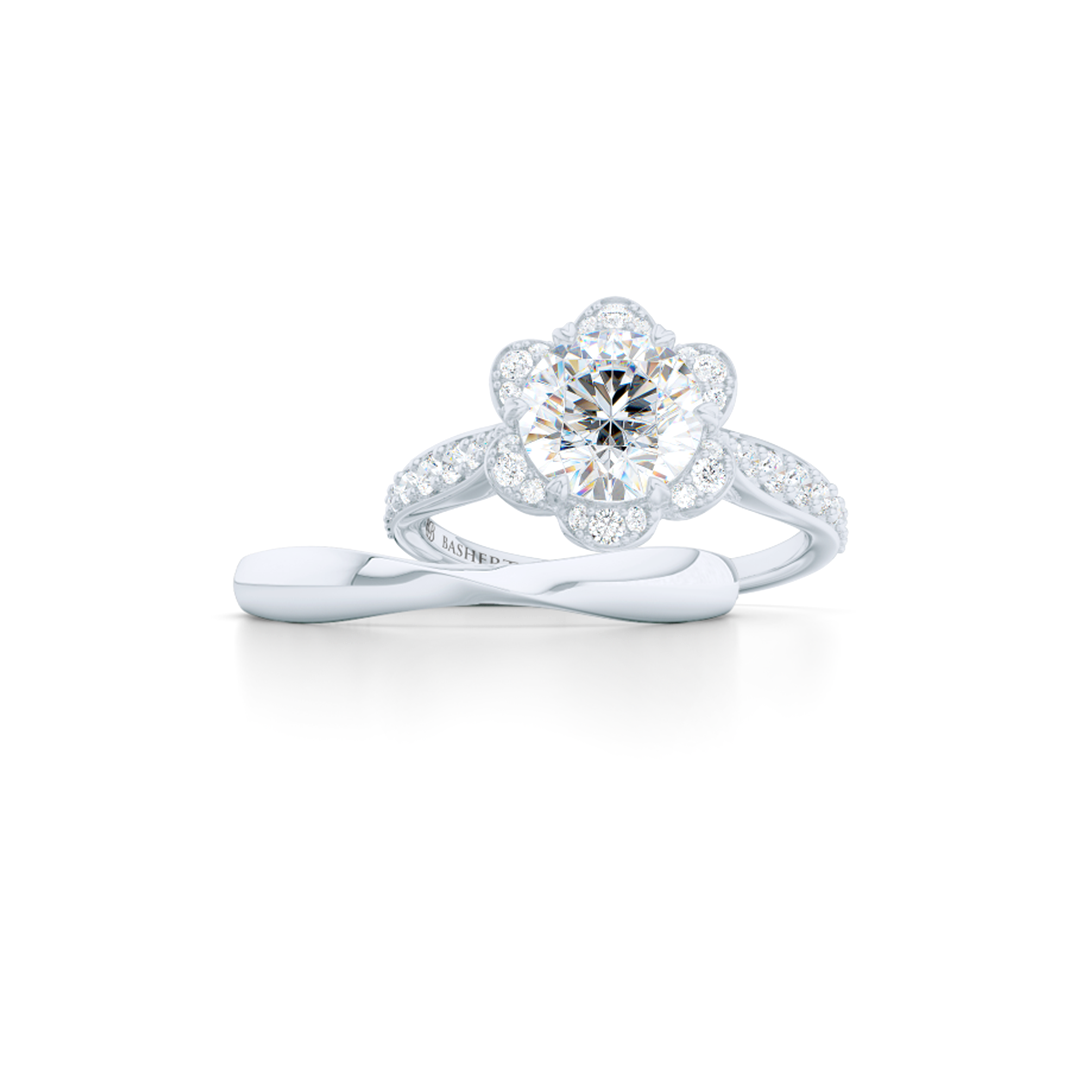 Flower inspired, six-prong, Round Halo Engagement Ring. Hand-fabricated in solid, sustainable, 14K White Gold and GIA Certified Round Brilliant Diamond.  Free Shipping USA. 15 Day Returns | BASHERT JEWELRY | Boca Raton, Florida