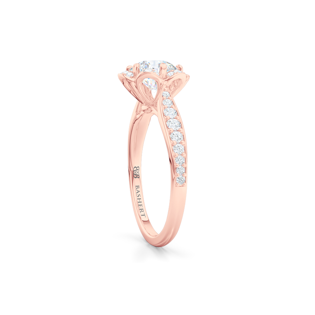 Flower inspired, six-prong, Round Halo Engagement Ring. Hand-fabricated in solid, sustainable, 18K Rose Gold and GIA Certified Round Brilliant Diamond.  Free Shipping USA. 15 Day Returns | BASHERT JEWELRY | Boca Raton, Florida