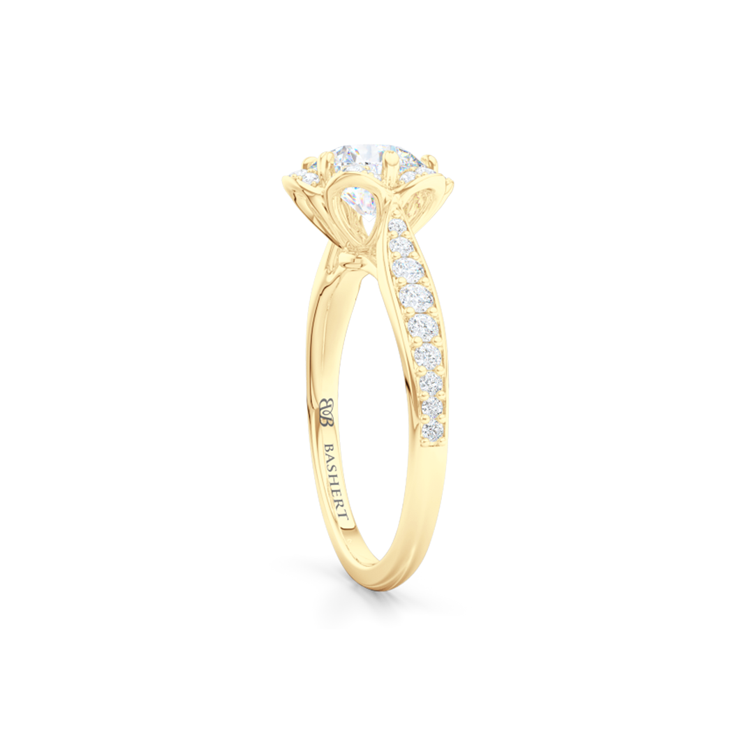 Flower inspired, six-prong, Round Halo Engagement Ring. Hand-fabricated in solid, sustainable, 18K Yellow Gold and GIA Certified Round Brilliant Diamond.  Free Shipping USA. 15 Day Returns | BASHERT JEWELRY | Boca Raton, Florida