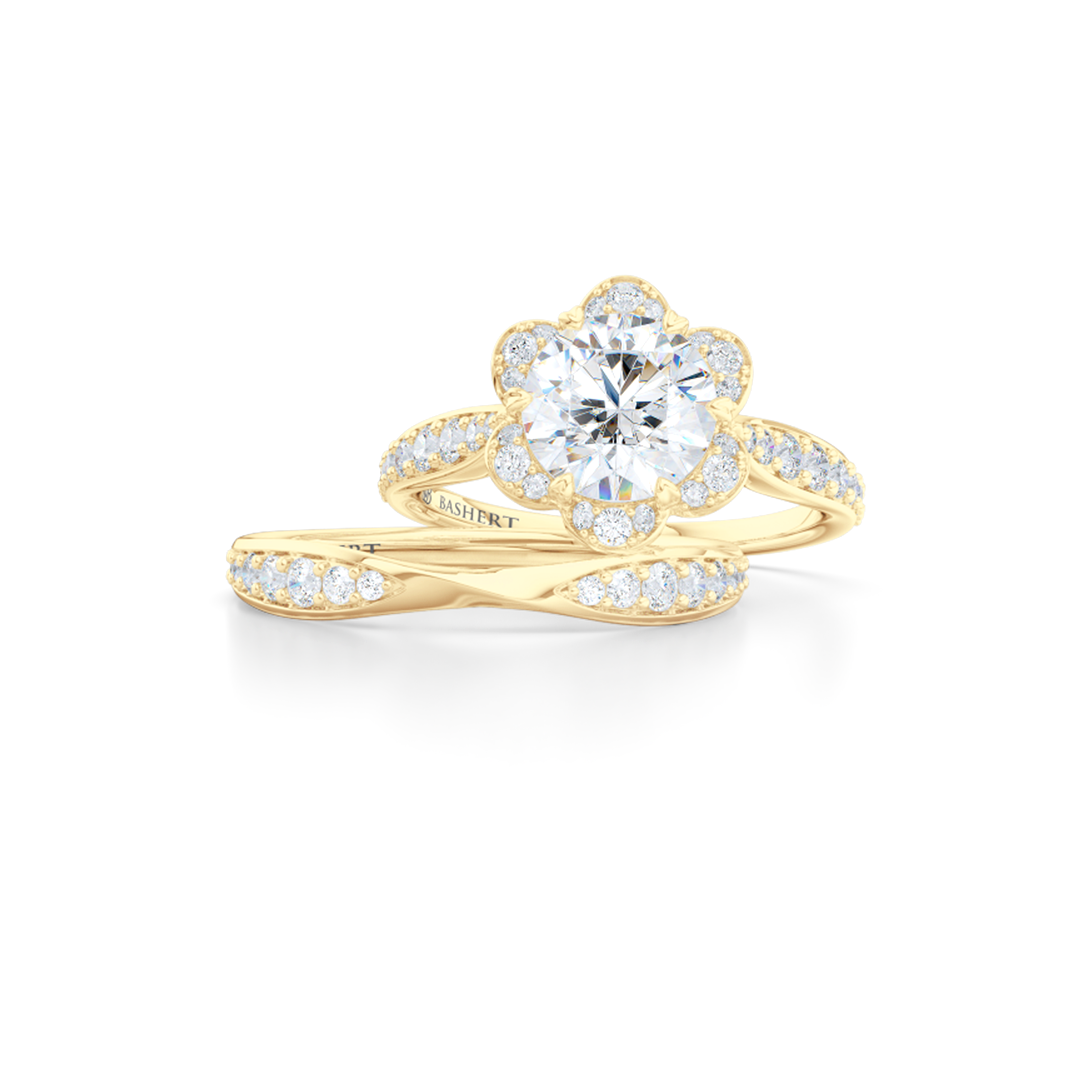 Flower inspired, six-prong, Round Halo Engagement Ring. Hand-fabricated in solid, sustainable, 14K Yellow Gold and GIA Certified Round Brilliant Diamond.  Free Shipping USA. 15 Day Returns | BASHERT JEWELRY | Boca Raton, Florida