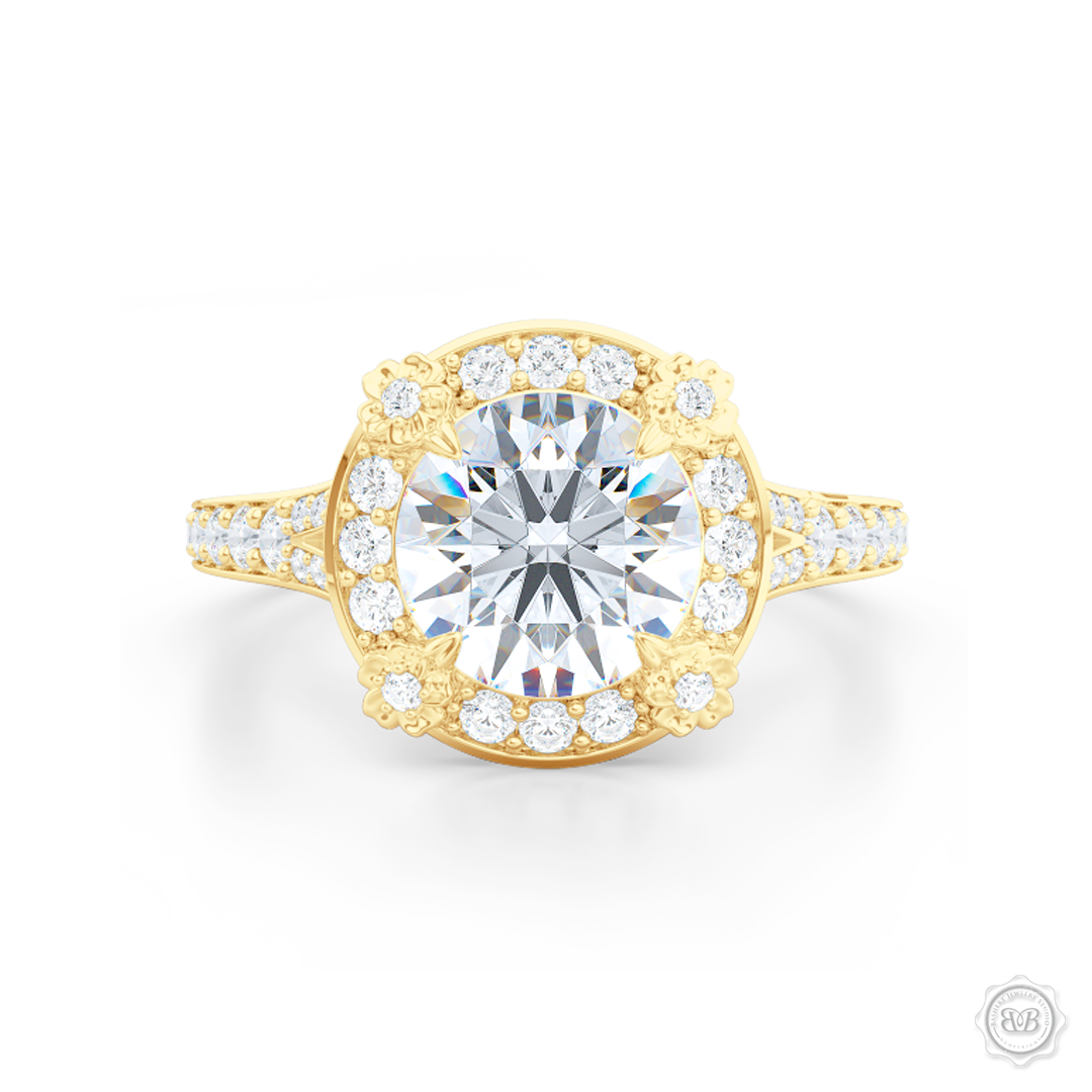 Flower inspired Round Diamond Halo Engagement ring with a vintage appeal, set in Classic Yellow Gold. Signature floret prongs, dazzling baby-split ring shoulders. Gia certified Round Brilliant Diamond. Free Shipping USA. 30-Day Returns | BASHERT JEWELRY | Boca Raton, Florida.