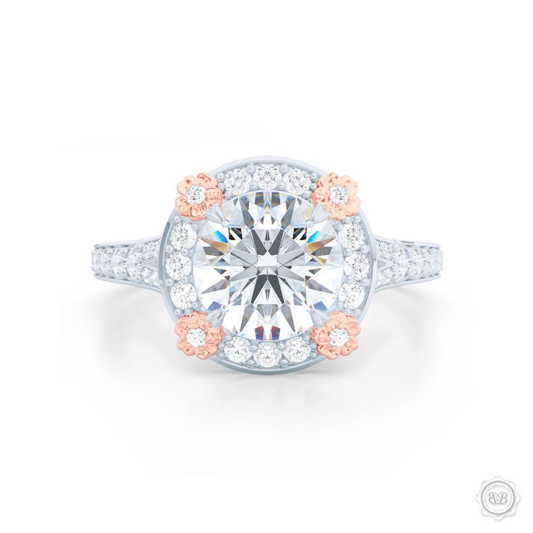 Flower inspired Round Diamond Halo Engagement ring with a vintage appeal, set in White Gold, Platinum and Romantic Rose Gold florets. Signature floret prongs, dazzling baby-split ring shoulders. Gia certified Round Brilliant Diamond. Free Shipping USA. 30-Day Returns | BASHERT JEWELRY | Boca Raton, Florida.