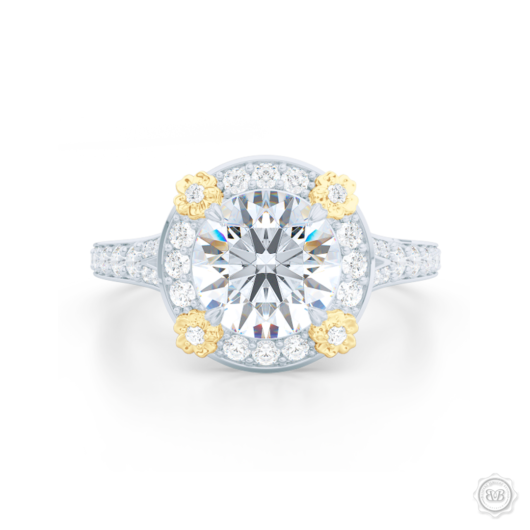Flower inspired Round Diamond Halo Engagement ring with a vintage appeal, set in White Gold, Platinum and Classic Yellow Gold florets. Signature floret prongs, dazzling baby-split ring shoulders. Gia certified Round Brilliant Diamond. Free Shipping USA. 30-Day Returns | BASHERT JEWELRY | Boca Raton, Florida.