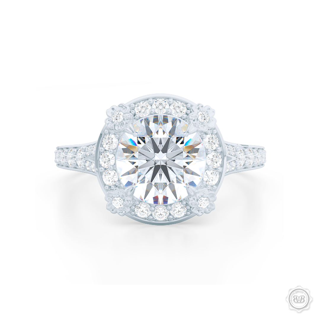 Flower inspired Round Diamond Halo Engagement ring with a vintage appeal, set in White Gold or Platinum. Signature floret prongs, dazzling baby-split ring shoulders. Gia certified Round Brilliant Diamond. Free Shipping USA. 30-Day Returns | BASHERT JEWELRY | Boca Raton, Florida.