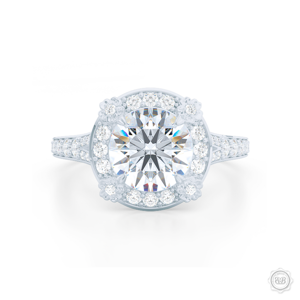 1e3f14a41634 Flower inspired Round Diamond Halo Engagement ring with a vintage appeal