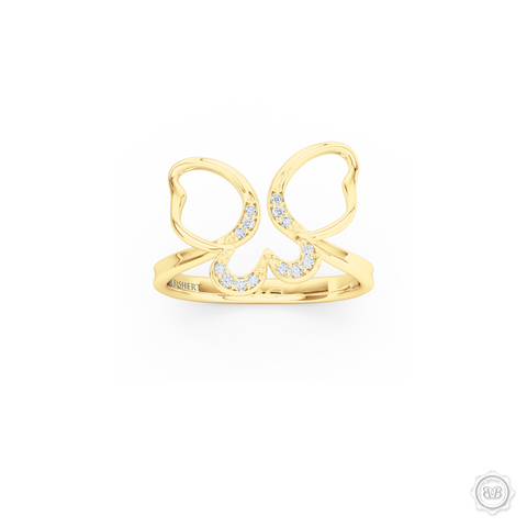 Butterfly Infinity Forever Young Fashion Ring. Open Butterfly Wings Frosted with Round Brilliant Diamond Melees. Style it with Gems of Your Choice.  Free Shipping to all USA. 30-Day Returns. BASHERT JEWELRY | Boca Raton, Florida