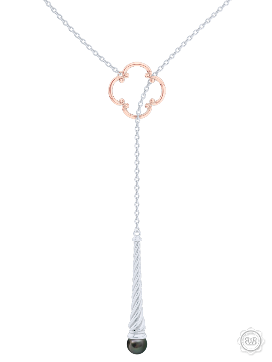 Akoya Black Pearl Lariat Necklace in Silver and Rose Gold Venetian Accent. Free Shipping USA. 30Day Returns. Free Silver Chain | BASHERT JEWELRY | Boca Raton Florida