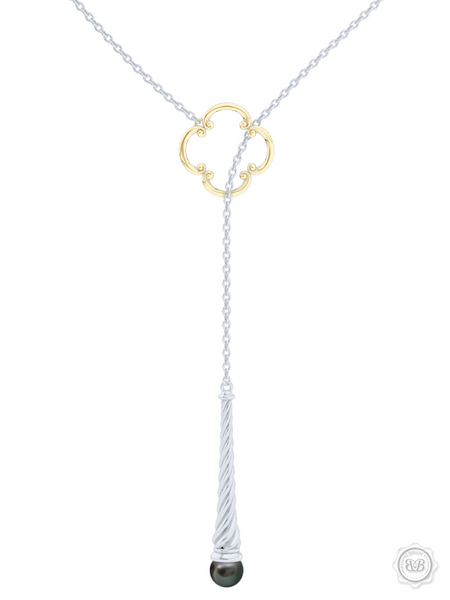 Akoya Black Pearl Lariat Necklace in Silver and Yellow Gold Venetian Accent. Free Shipping USA. 30Day Returns. Free Silver Chain | BASHERT JEWELRY | Boca Raton Florida
