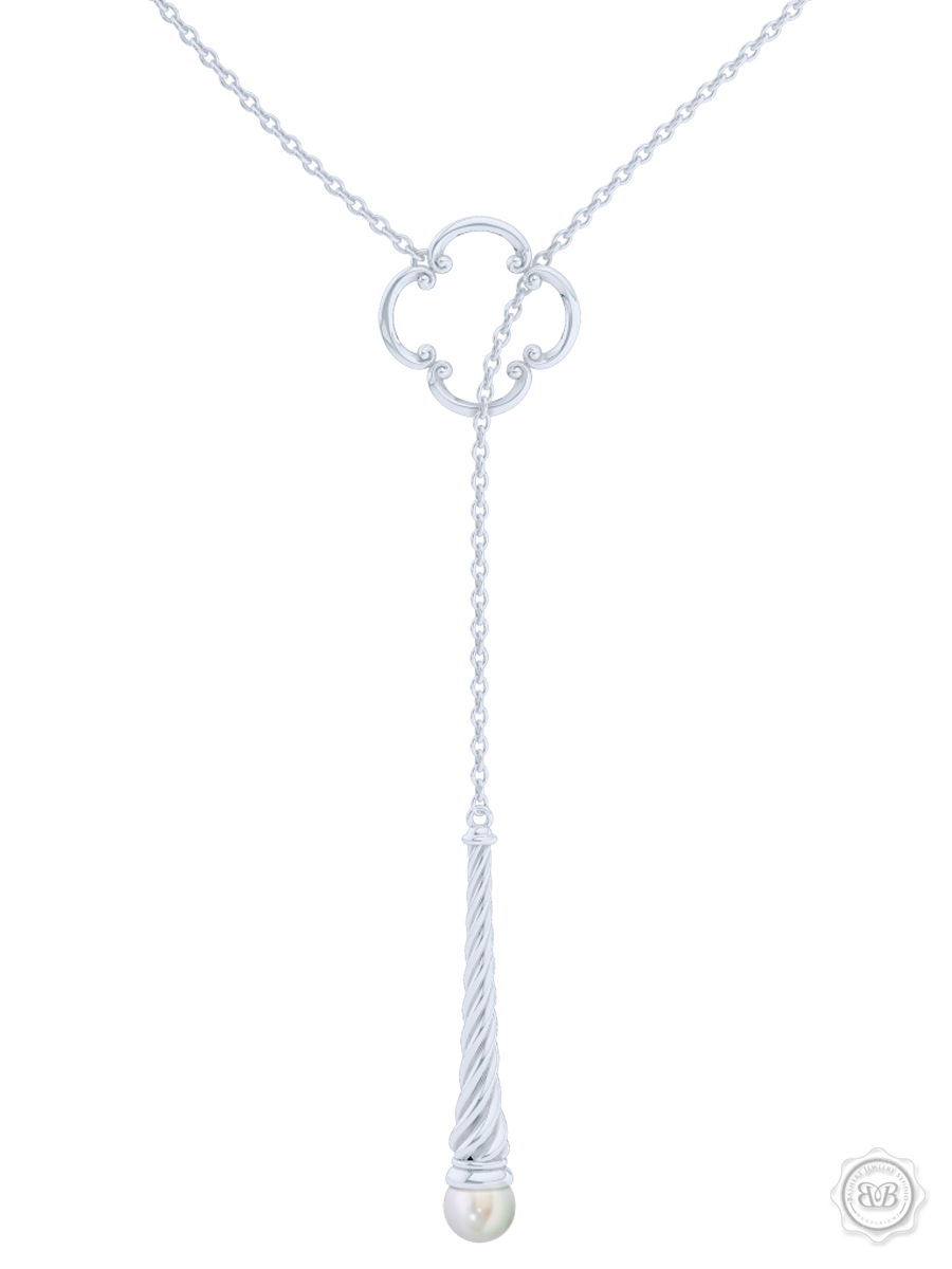 Akoya White Pearl Lariat Necklace in Silver and Silver Venetian Accent. Free Shipping USA. 30Day Returns. Free Silver Chain | BASHERT JEWELRY | Boca Raton Florida