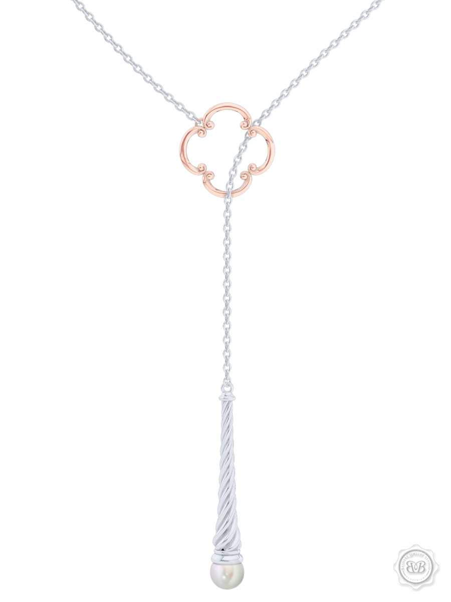 Akoya White Pearl Lariat Necklace in Silver and Rose Gold Venetian Accent. Free Shipping USA. 30Day Returns. Free Silver Chain | BASHERT JEWELRY | Boca Raton Florida