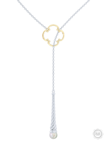 Akoya White Pearl Lariat Necklace in Silver and Yellow Gold Venetian Accent. Free Shipping USA. 30Day Returns. Free Silver Chain | BASHERT JEWELRY | Boca Raton Florida