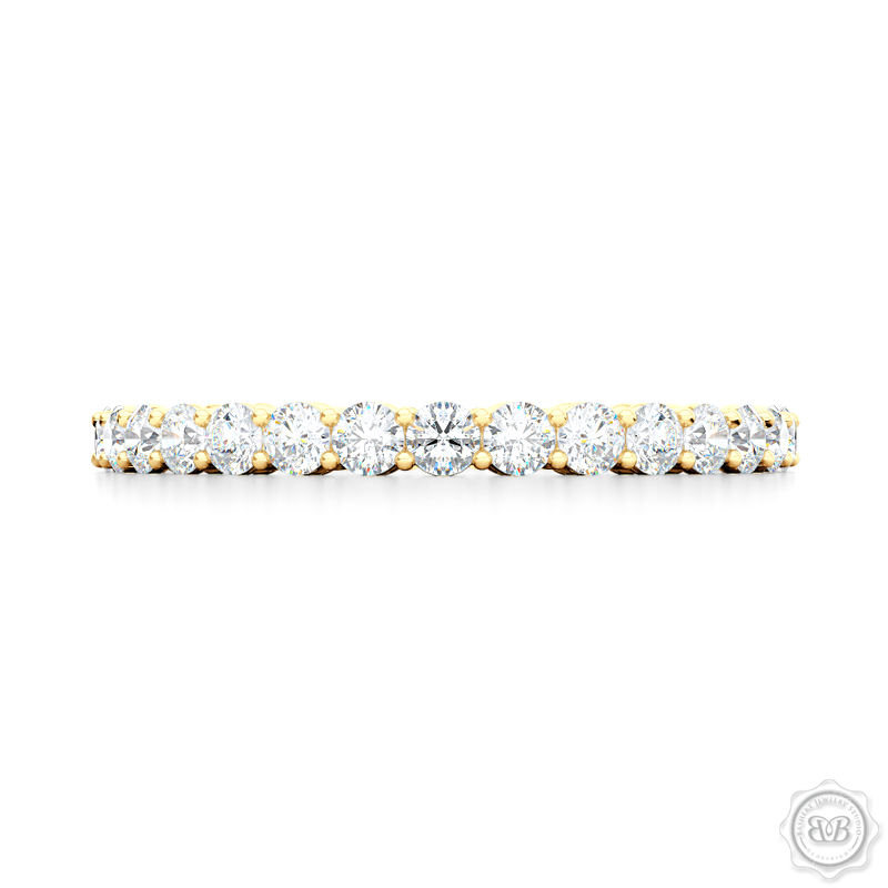 Dainty halfway-diamond wedding ring. Handcrafted in Classic Yellow Gold and round brilliant diamonds set in share-prong setting.  Free Shipping for All USA Orders. 30-Day Returns | BASHERT JEWELRY | Boca Raton, Florida
