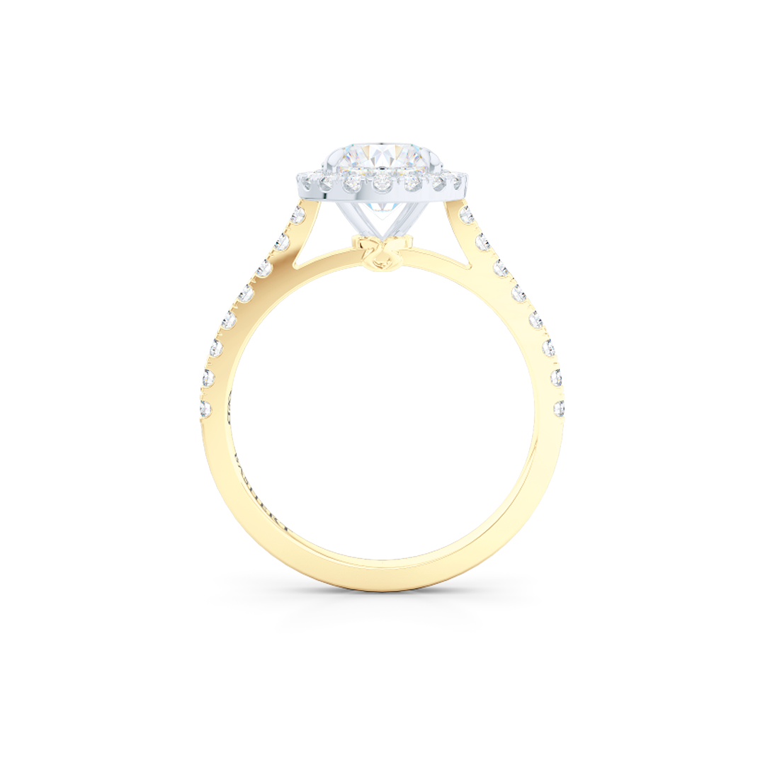 Classic Round Halo Engagement Ring, hand-fabricated in two-tone metal - Classic Yellow Gold and Precious Platinum. The center stone is a Round Brilliant, Forever-One Moissanite by Charles and Colvard. Dazzling diamond micro pavè set shoulders and crown. Free Shipping USA. 15 Day Returns | BASHERT JEWELRY | Boca Raton, Florida.