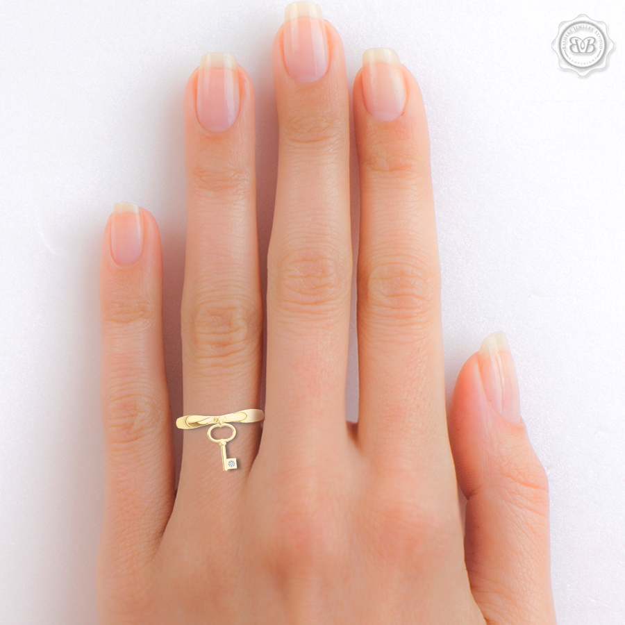 Fashion Key-Charm Ladies Ring. Forever Young Jewelry piece, encrusted with a Diamond or a Gem of Your Choice. Handcrafted in Classic Yellow Gold. Free Shipping to all USA. 30-Day Returns. BASHERT JEWELRY | Boca Raton, Florida
