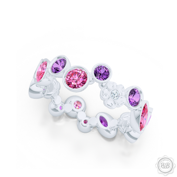 Unique Floral Motif Eternity Ring, Handcrafted in White Gold, Lilac Amethysts, and Pink Tourmalines. Customize it with Birthstones or Anniversary gems of Your Choice. Free Shipping USA. 30Day Returns. BASHERT JEWELRY | Boca Raton, Florida