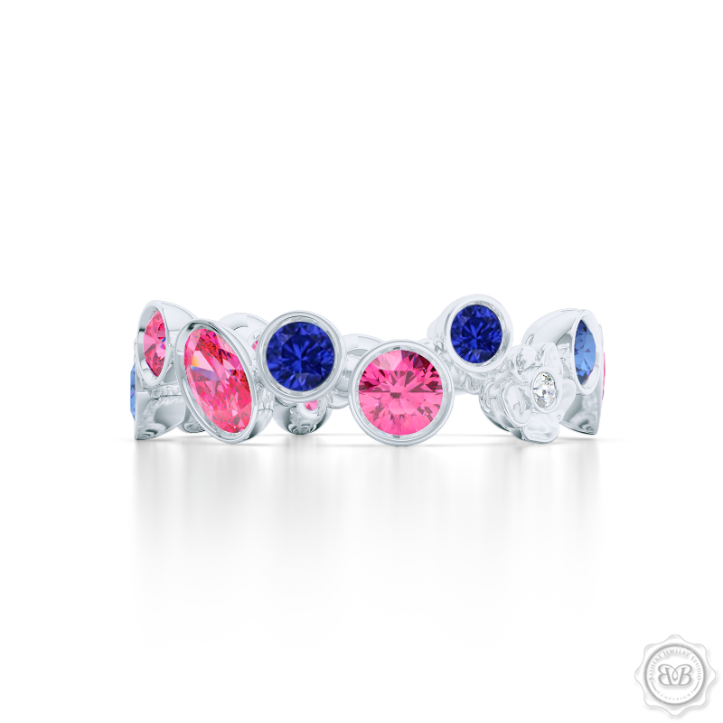 Unique Floral Motif Eternity Ring, Handcrafted in White Gold or Precious Platinum, Royal Blue and Candy Pink Sapphires. Customize it with Birthstones or Anniversary gems of Your Choice. Free Shipping USA. 30 Day Returns. BASHERT JEWELRY | Boca Raton, Florida