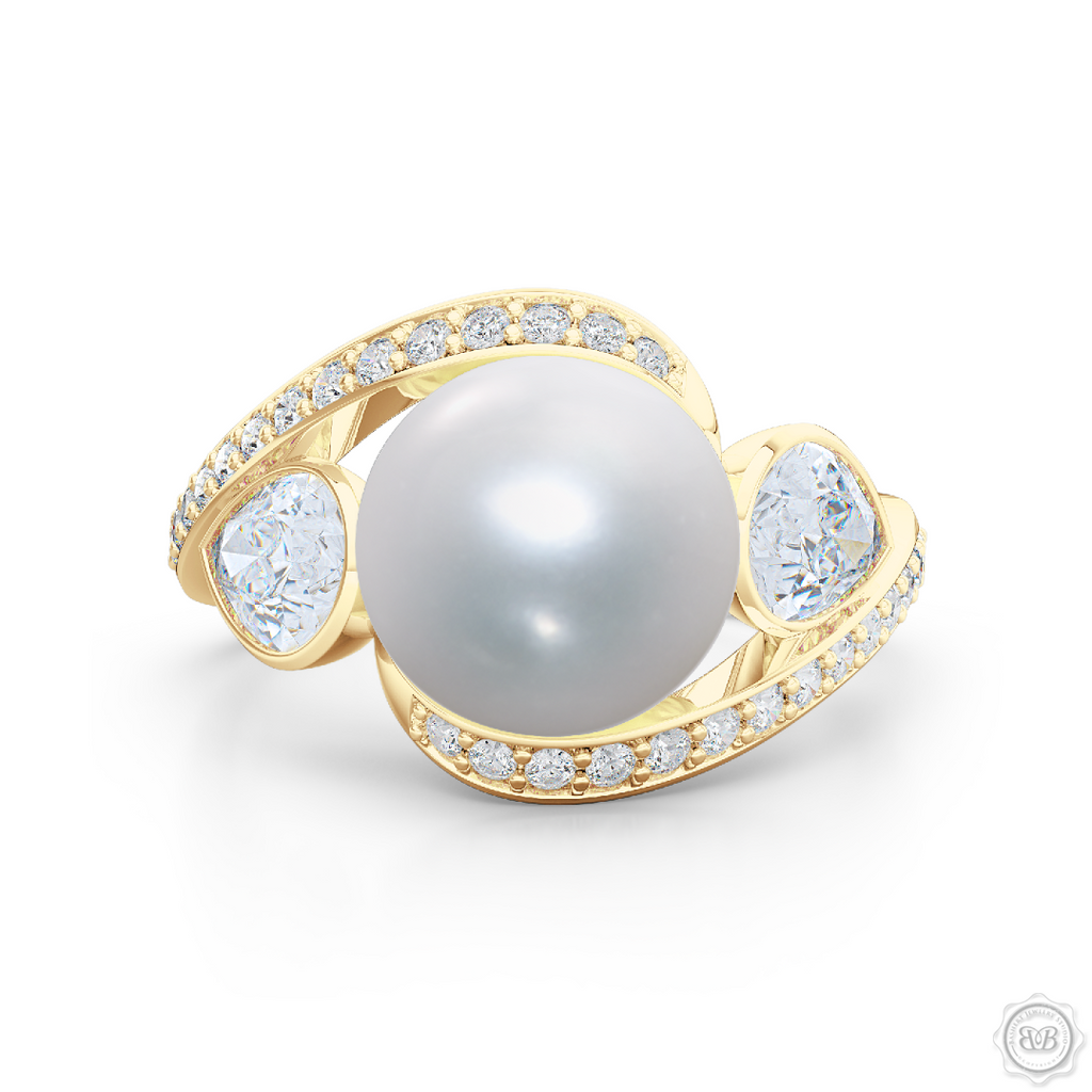 8f3ac89d9 Unique Infinity Pearl Engagement Ring handcrafted in Classic Yellow Gold.  Award-winning design featuring