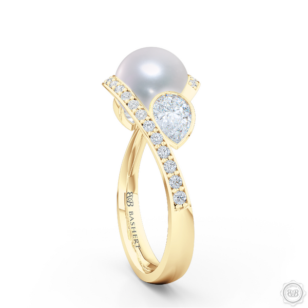 Unique Infinity Pearl Engagement Ring handcrafted in Classic Yellow Gold. Award-winning design featuring dazzling 10.00mm Cultured Akoya Pearl, accentuated by matching GIA Certified, Pear Shaped Diamonds. The infinity intertwined shoulders of the ring are adorned with Round Brilliant diamonds, set in classic bead-set. Free Shipping for All USA Orders. 30Day Returns | BASHERT JEWELRY | Boca Raton, Florida