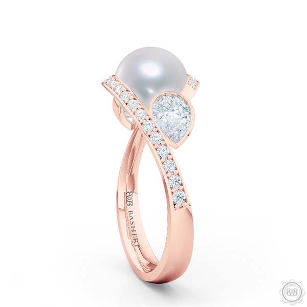 Unique Infinity Pearl Engagement Ring handcrafted in Romantic Rose Gold. Award-winning design featuring dazzling 10.00mm Cultured Akoya Pearl, accentuated by matching GIA Certified, Pear Shaped Diamonds. The infinity intertwined shoulders of the ring are adorned with Round Brilliant diamonds, set in classic bead-set. Free Shipping for All USA Orders. 30Day Returns | BASHERT JEWELRY | Boca Raton, Florida