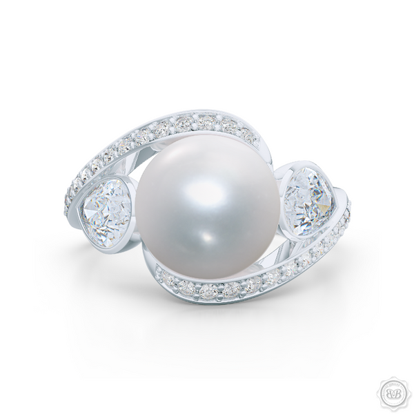 Unique Infinity Pearl Engagement Ring handcrafted in White Gold or Precious Platinum. Award-winning design featuring dazzling 10.00mm Cultured Akoya Pearl, accentuated by matching GIA Certified, Pear Shaped Diamonds. The infinity intertwined shoulders of the ring are adorned with Round Brilliant diamonds, set in classic bead-set. Free Shipping for All USA Orders. 30Day Returns | BASHERT JEWELRY | Boca Raton, Florida