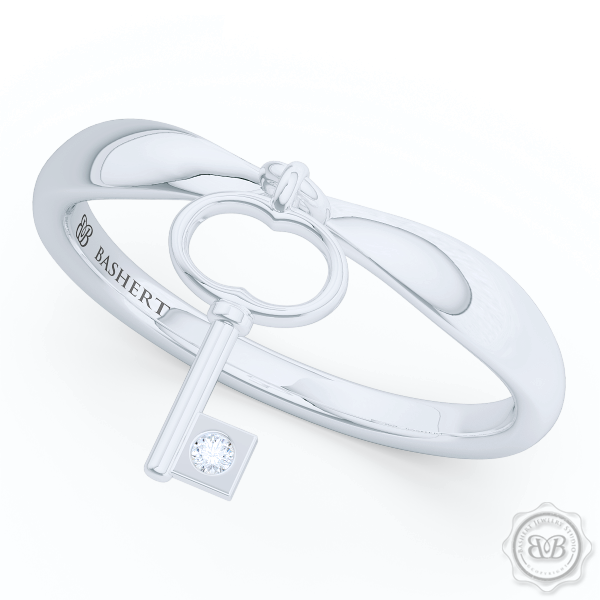 Fashion Key Band, Encrusted with a Diamond or a Gem of Your Choice. Handcrafted in Sterling Silver or White Gold. Free Shipping to all USA. 30Day Returns. BASHERT JEWELRY | Boca Raton, Florida