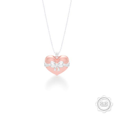 Heart Pendant, Heart Charm, Heart Necklace, Handcrafted in Romantic Rose Gold. Bright White Gold Bow Accent. Free Shipping to all USA. 30Day Returns. Free Silver Chain option. BASHERT JEWELRY | Boca Raton, Florida