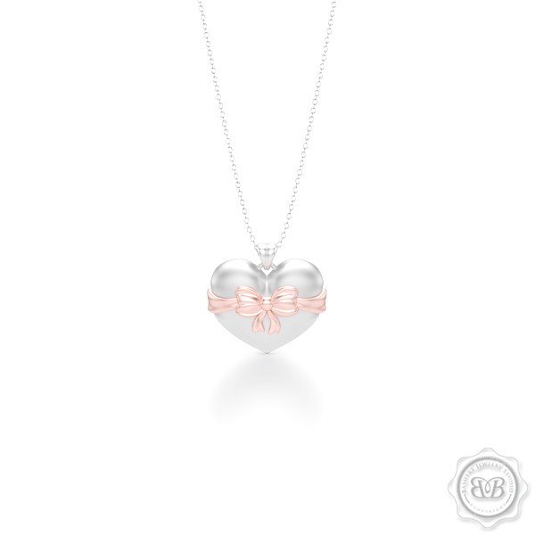 Heart Pendant, Heart Charm, Heart Necklace, Handcrafted in White Gold. Romantic Rose Gold Bow Accent. Free Shipping to all USA. 30Day Returns. Free Silver Chain option. BASHERT JEWELRY | Boca Raton, Florida