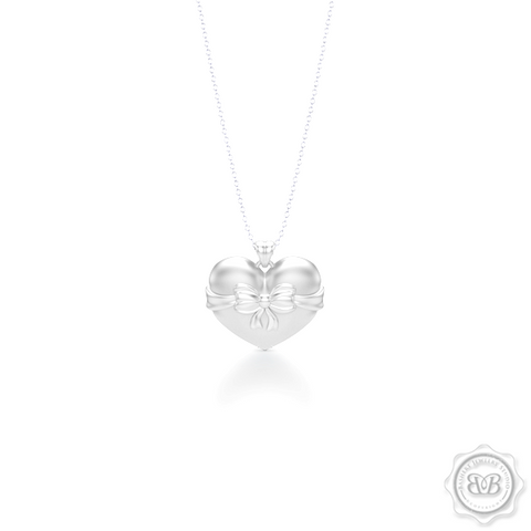 Heart Pendant, Heart Charm, Heart Necklace, Handcrafted in White Gold. Bright White Gold Bow Accent. Free Shipping to all USA. 30Day Returns. Free Silver Chain option. BASHERT JEWELRY | Boca Raton, Florida