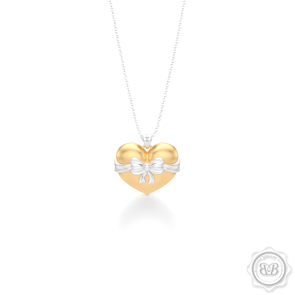Heart Pendant, Heart Charm, Heart Necklace, Handcrafted in Classic Yellow Gold. Bright White Gold Bow Accent. Free Shipping to all USA. 30Day Returns. Free Silver Chain option. BASHERT JEWELRY | Boca Raton, Florida