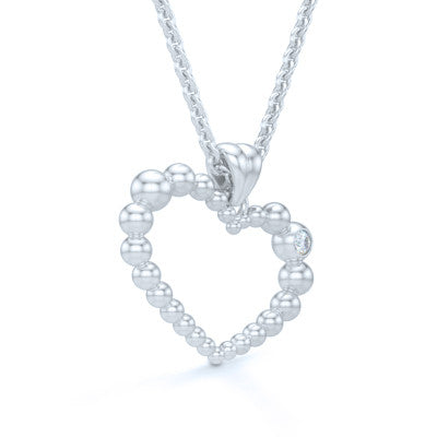 Heart Pendant, Heart Necklace Handcrafted in Sterling Silver or Bright White Gold and adorned with a Round Brilliant Diamond or a Birthstone of Your Choice. Free Shipping to all USA. 30Day Returns. Free Silver Chain. BASHERT JEWELRY | Boca Raton, Florida