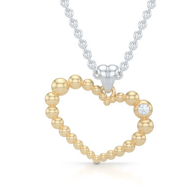 Heart Pendant, Heart Necklace Handcrafted in Classic Yellow Gold and adorned with a Round Brilliant Diamond or a Birthstone of Your Choice. Free Shipping to all USA. 30Day Returns. Free Silver Chain. BASHERT JEWELRY | Boca Raton, Florida
