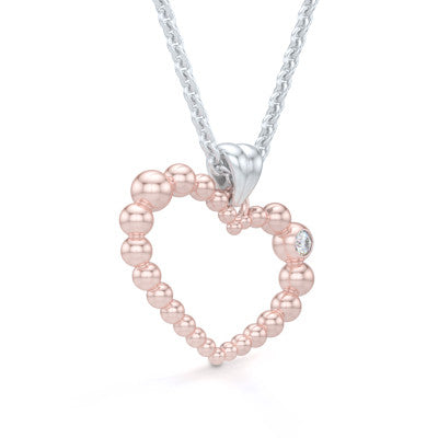 Heart Pendant, Heart Necklace Handcrafted in Romantic Rose Gold and adorned with a Round Brilliant Diamond or a Birthstone of Your Choice. Free Shipping to all USA. 30Day Returns. Free Silver Chain. BASHERT JEWELRY | Boca Raton, Florida