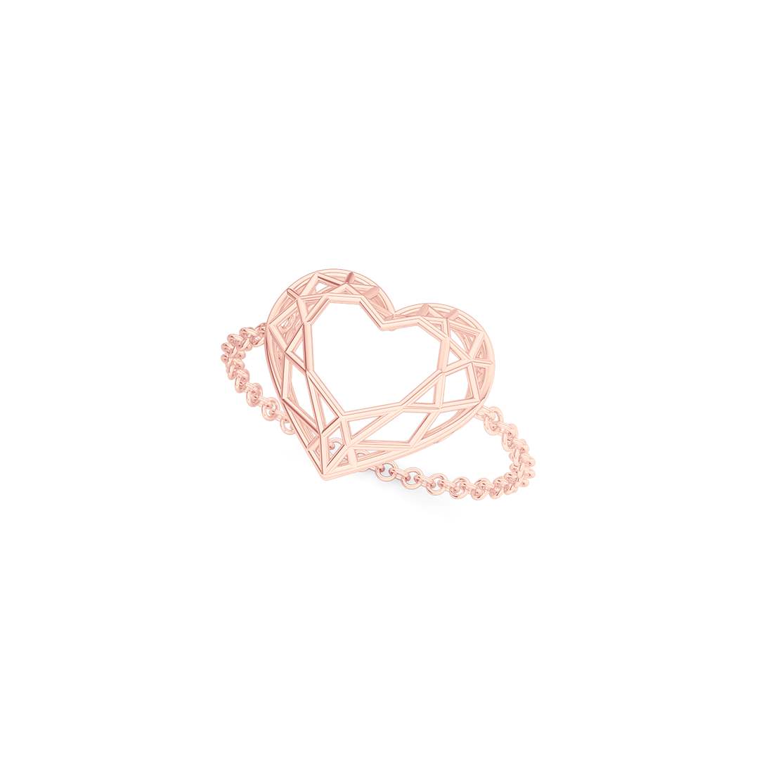 Heart shaped  pinkie, chain or bar ring. Hand-fabricated in ethically sourced, solid Rose Gold.  | Free Shipping on all orders in The USA. |  Bashert Jewelry.  Boca Raton Florida.