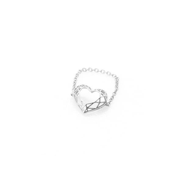 Heart shaped  pinkie, chain or bar ring. Hand-fabricated in ethically sourced, solid White Gold.  | Free Shipping on all orders in The USA. |  Bashert Jewelry.  Boca Raton Florida.
