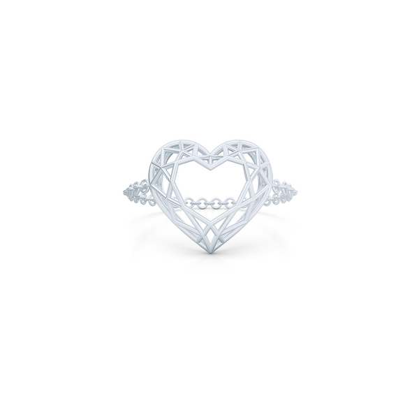 Heart shaped  pinkie, chain or bar ring. Hand-fabricated in ethically sourced, solid White Gold. | Free Shipping on all orders in The USA. |  Bashert Jewelry.  Boca Raton Florida
