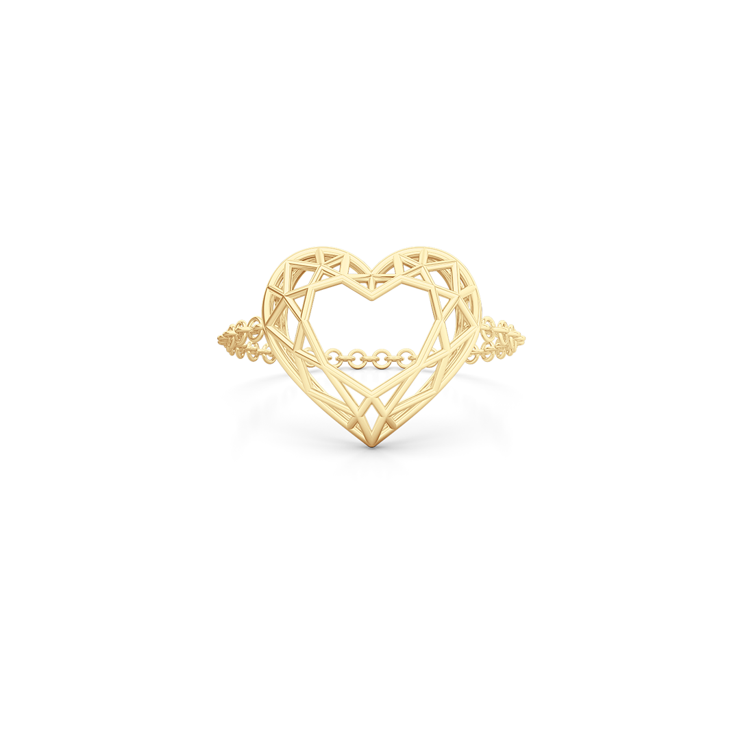 Heart shaped  pinkie, chain or bar ring. Hand-fabricated in ethically sourced, solid Yellow Gold. | Free Shipping on all orders in The USA. |  Bashert Jewelry.  Boca Raton Florida
