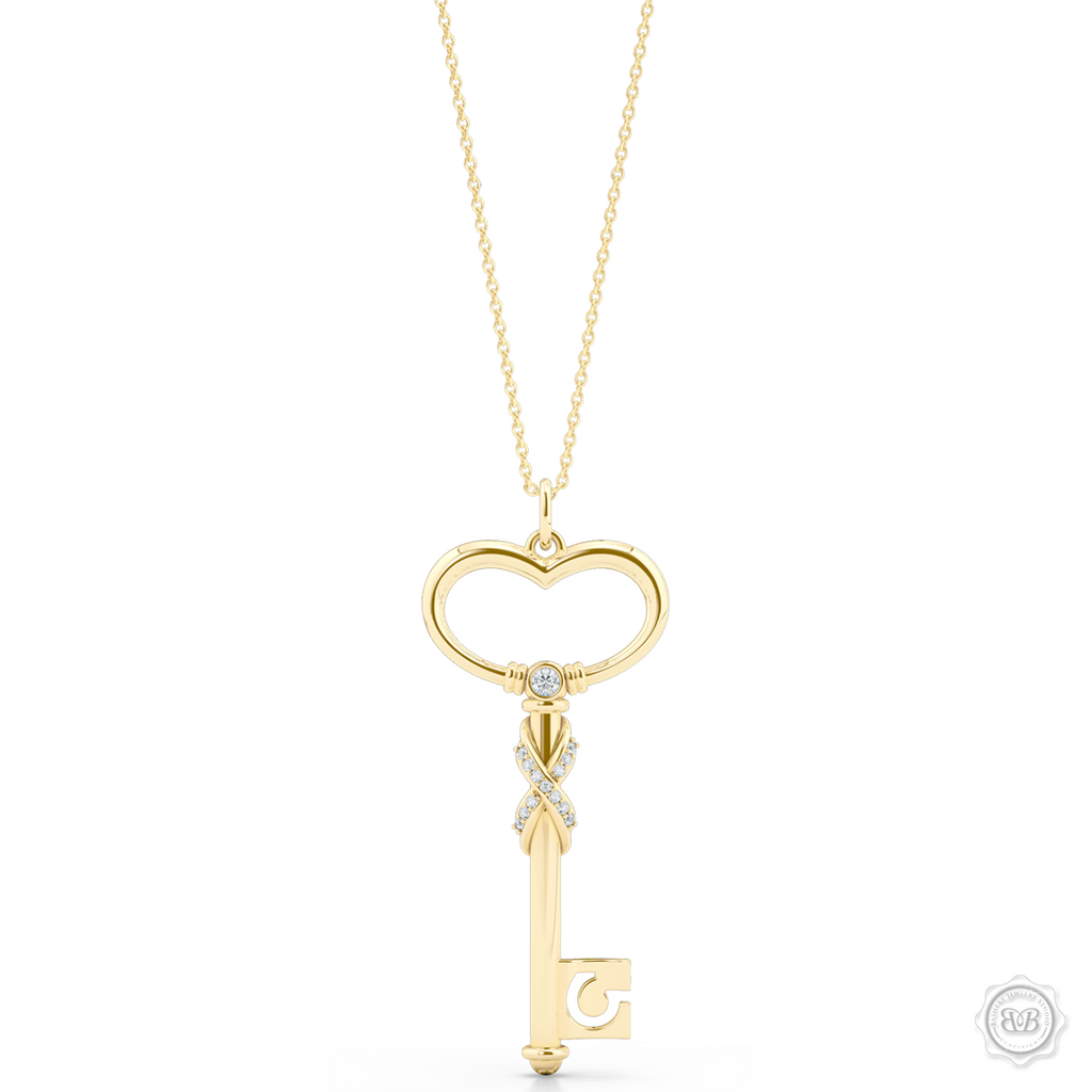dd0a16d52ad75 Heart Key Pendant Necklace with a Diamond Adorned Infinity Twist.  Handcrafted in Classic Yellow Gold