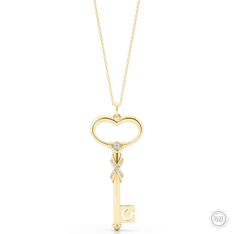 Heart Key Pendant Necklace with a Diamond Adorned Infinity Twist. Handcrafted in Classic Yellow Gold. Style this design with a gem of your choice to create a unique look that's exactly you. Available in two sizes. Free Shipping USA. 30Day Returns. Free Silver Chain | BASHERT JEWELRY | Boca Raton Florida