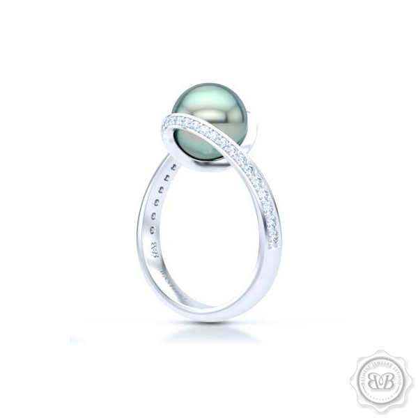 One-of-a-kind Infinity Tahitian Pearl Engagement Ring. The mesmerizing Sea-Green Pearl is cradled in a shimmering diamond encrusted infinity setting. Free Shipping USA. 30-Day Returns BASHERT JEWELRY | Boca Raton, Florida