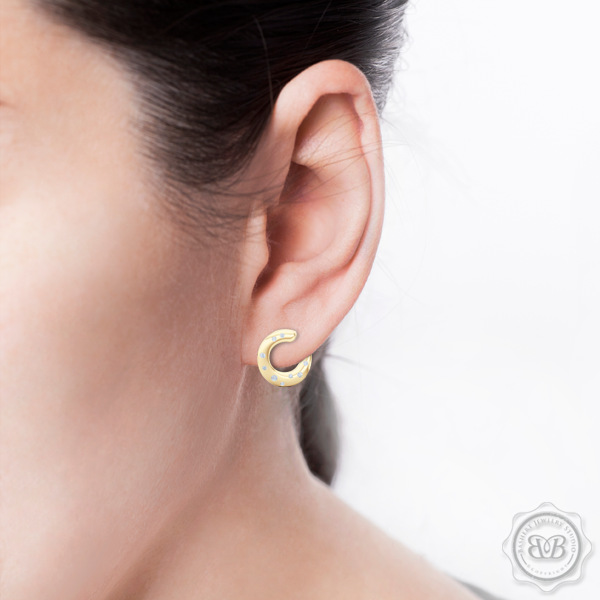 Inside-Out Dainty Ear-hugging Hoops. Handcrafted in Classic Yellow Gold and Round Brilliant Diamonds. Free Shipping for All USA Orders. 30Day Returns | BASHERT JEWELRY | Boca Raton, Florida
