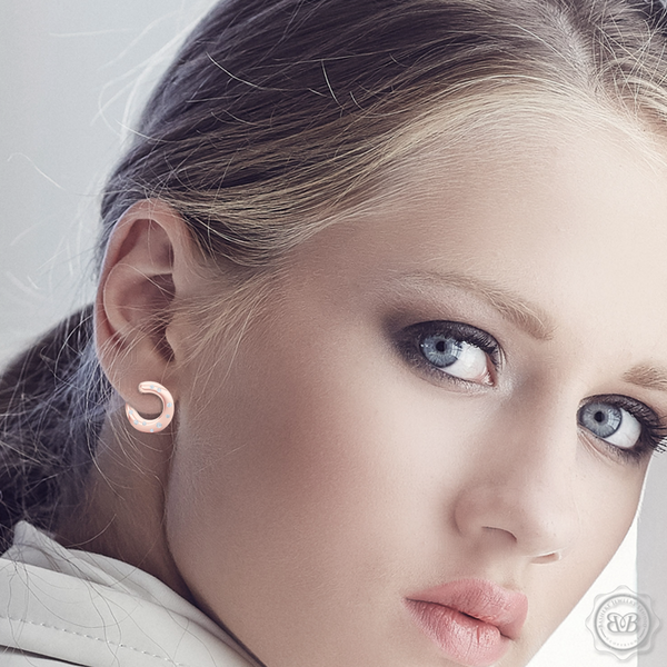 Inside-Out Dainty Ear-hugging Hoops. Handcrafted in Romantic Rose Gold and Round Diamonds. Free Shipping for All USA Orders. 30Day Returns | BASHERT JEWELRY | Boca Raton, Florida