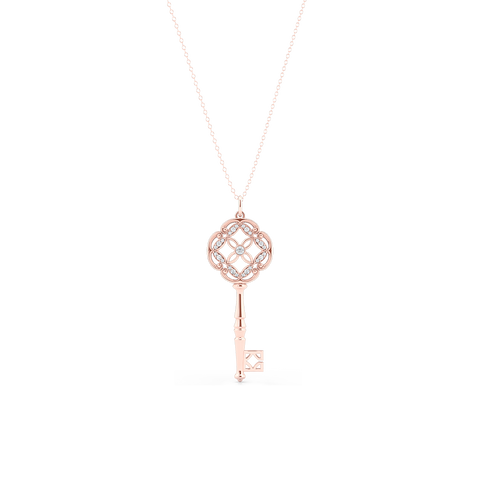 An intricate Key Pendant Necklace with an elegant Venetian elements. Hand-fabricated in sustainable, solid Rose Gold. Adorned with 0.18ct Round Brilliant Diamonds. Free Shipping for All USA Orders. 15 Day Returns | BASHERT JEWELRY | Boca Raton, Florida