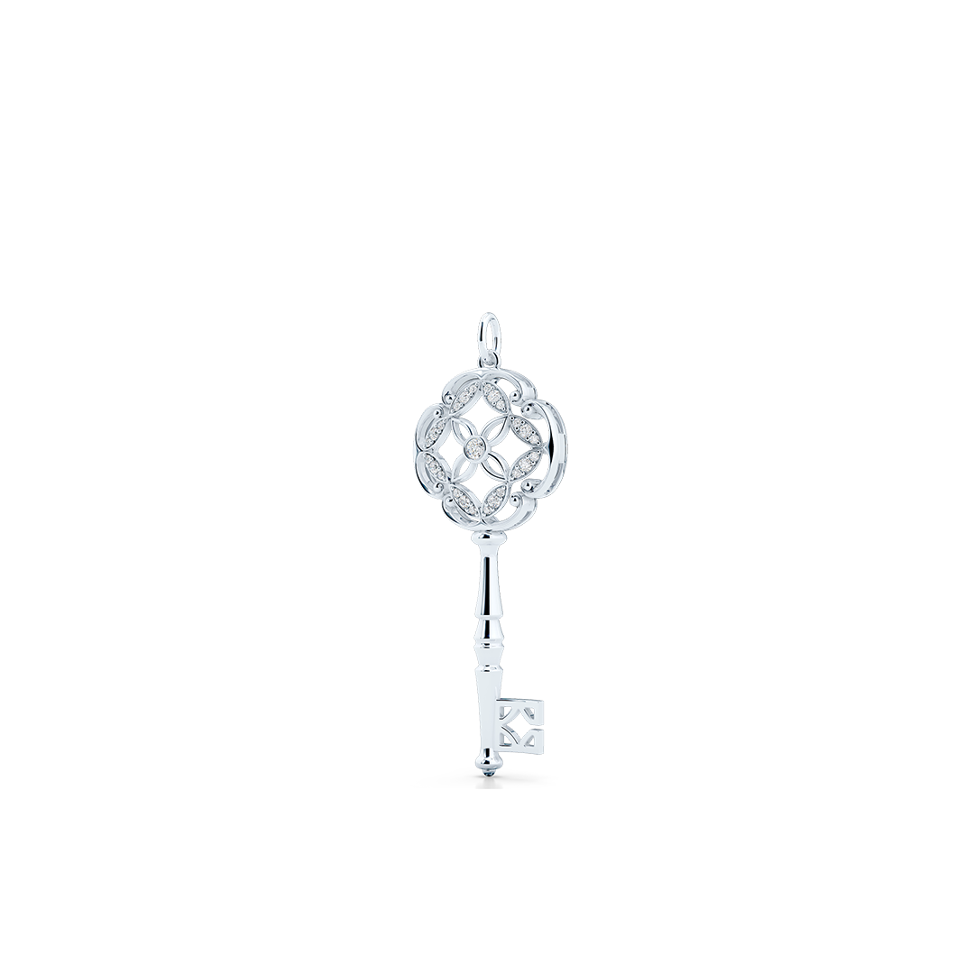 An intricate Key Pendant Necklace with an elegant Venetian elements. Hand-fabricated in sustainable, solid White Gold. Adorned with 0.18ct Round Brilliant Diamonds. Free Shipping for All USA Orders. 15 Day Returns | BASHERT JEWELRY | Boca Raton, Florida