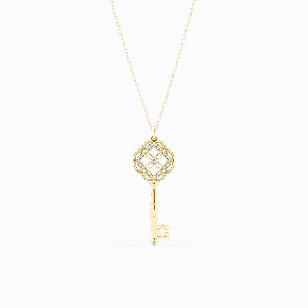 An intricate Key Pendant Necklace with an elegant Venetian elements. Hand-fabricated in sustainable, solid Yellow Gold. Adorned with 0.18ct Round Brilliant Diamonds. Free Shipping for All USA Orders. 15 Day Returns | BASHERT JEWELRY | Boca Raton, Florida