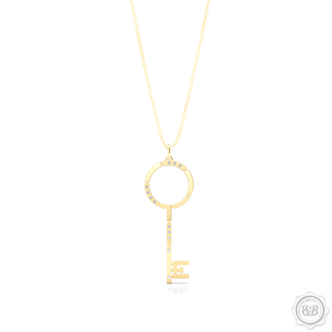 An elegant, streamlined Key Pendant Necklace with modern architectural appeal and urban grace. Crafted in Classic Yellow Gold. This design is constructed of Polished and Brushed Metal Segments and Iced with 0.06ct - Round Brilliant Diamonds.  Available in two Sizes. Free Silver Chain Option . Free Shipping on All USA Orders. 30 Day Returns | BASHERT JEWELRY | Boca Raton, Florida